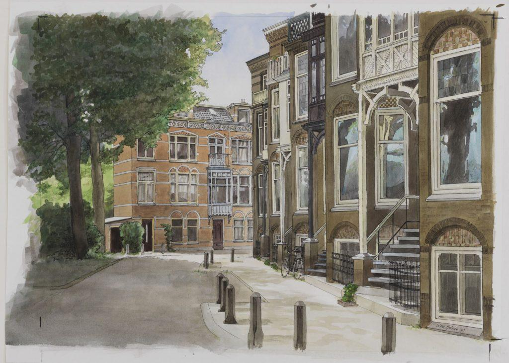Tekening van de Utrechtse Hugo de Grootstraat in 1993