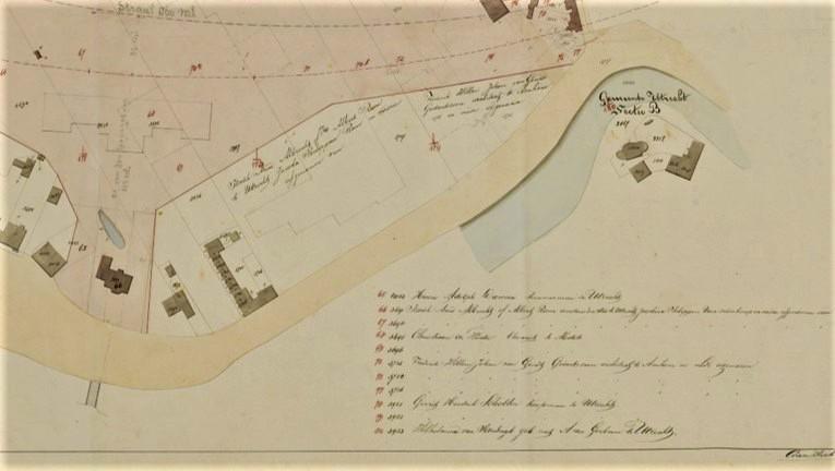 Kaart met eigenaren in de buurt in 1872