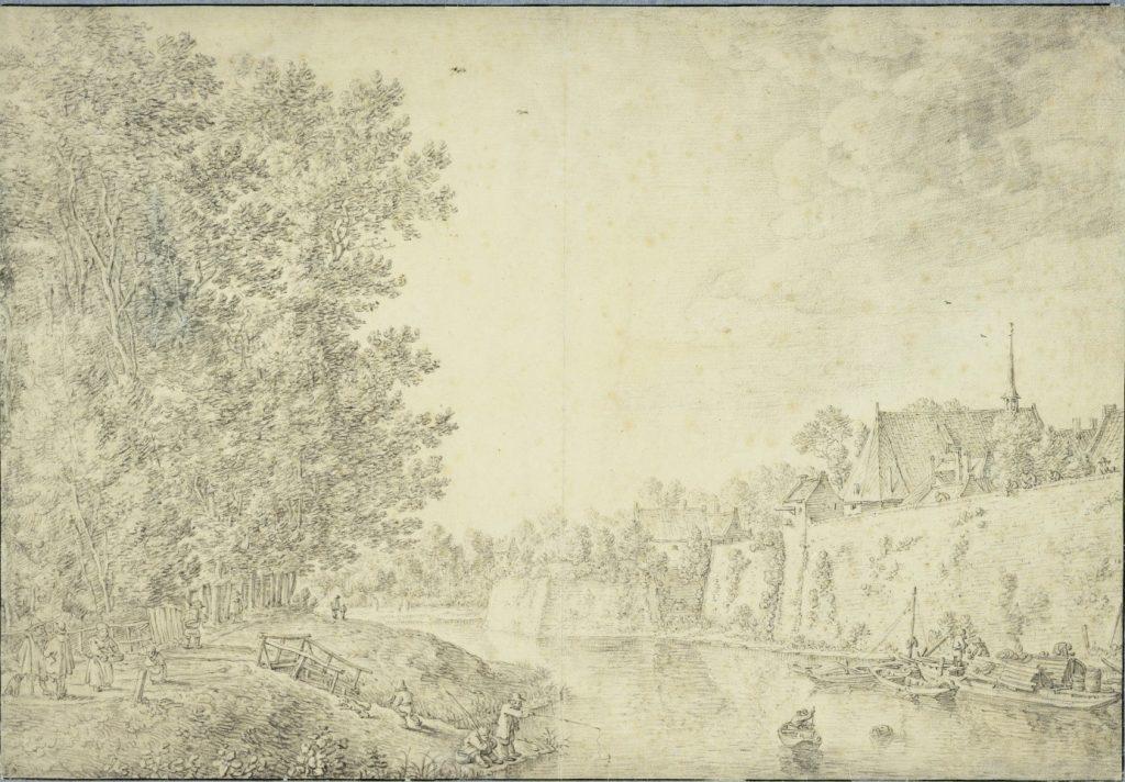 Ets uit 1660 met het hoornwerk met wal en gracht