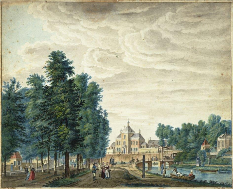 Schilderij uit 1768 met gezicht vanuit de Maliebaan op de Maliebrug