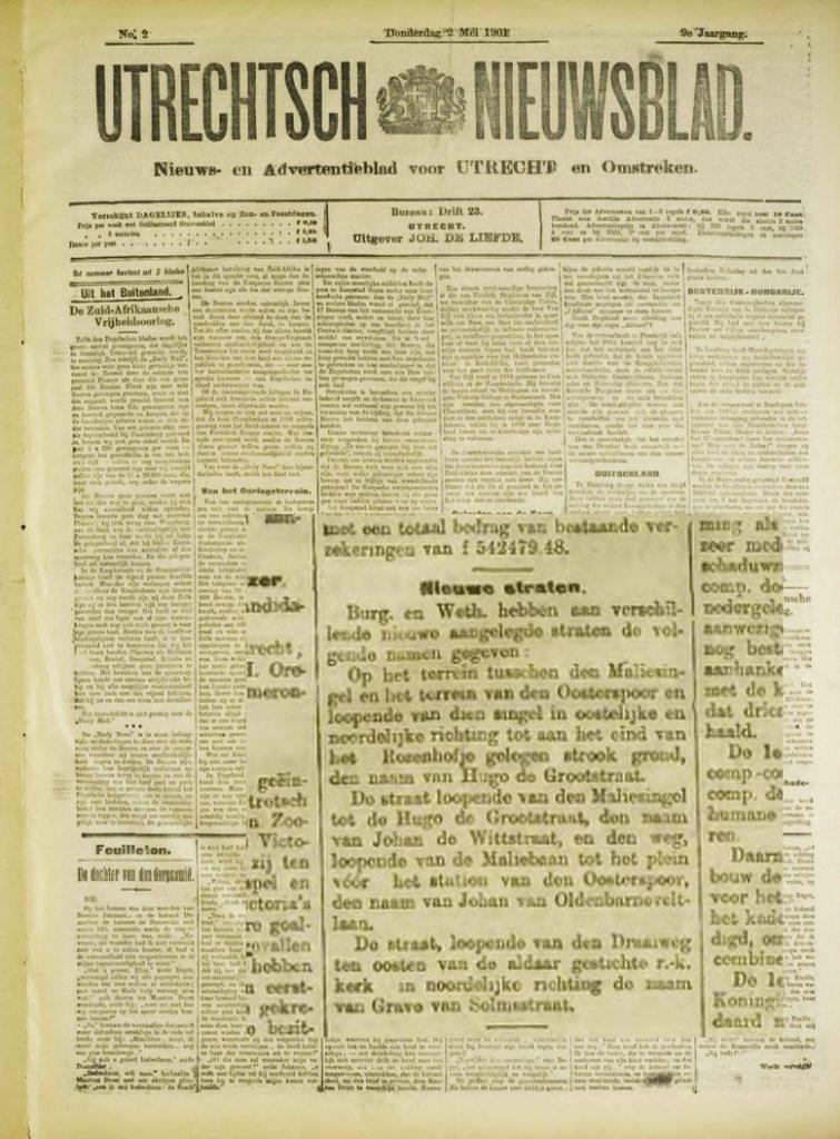 Aankondiging nieuwe straatnamen in het Utrechtsch Nieuwsblad, 2 mei 1901