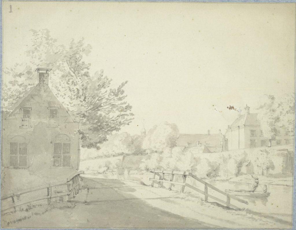 Tekening uit 1765 van het Fundatiehuis en de singel met wal