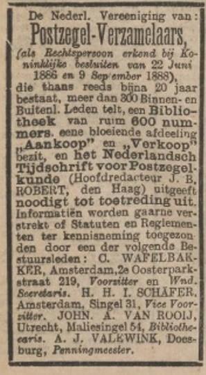 Krantenartikel van de postzegelverzamelaars over Johannes van Rooij
