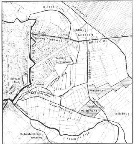 Kaartje met de bebouwing van begin 19e eeuw waarop melatenland , Oudwijk en de Servaasabdij ingetekend zijn (Uit: LA Van der Tuuk, De vroege topografie van de Utrechtse buitengerechten Oudwijk en Abstede, 2001).