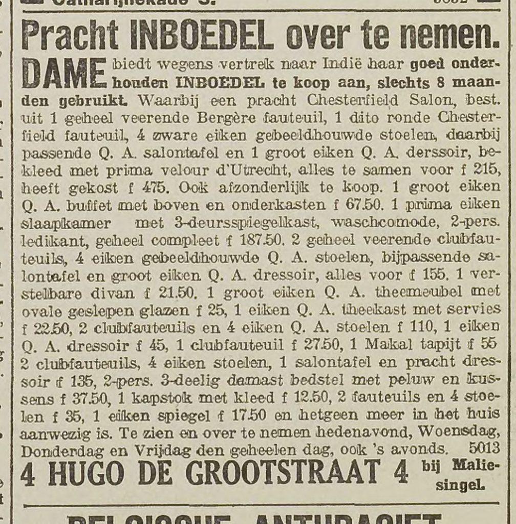 advertentie in krant die de inboedel beschrijft