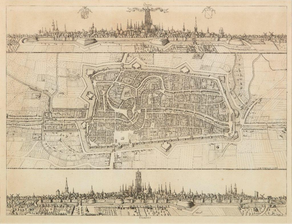 Utrecht 1598, met bovenaan een stadsgezicht vanuit het oosten en onderaan vanuit het Westen © Centraal Museum.
