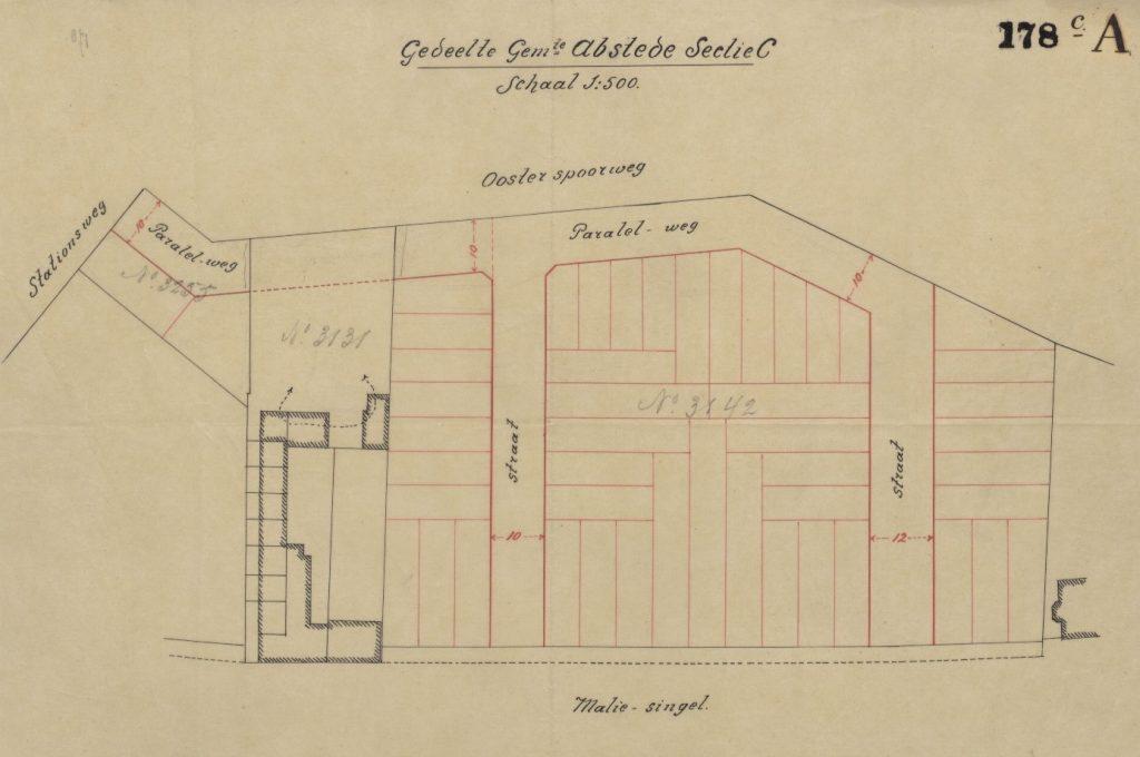 De eerste bouwtekening waarop Maliesingel 51 tot 53 staat aangegeven, dus drie huizen. Dit is zo niet uitgevoerd, het zijn er later 4 geworden.